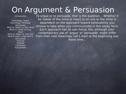 On Argument and Persuasion