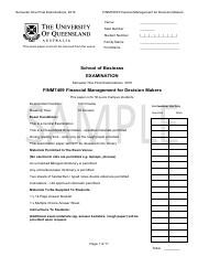 FINM7409 SAMPLE Final Exam S1 2016 SAMPLE - Solutions