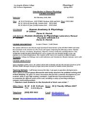 Physiology 1 Course Syllabus 2010