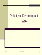CSC 306 - 3  Velocity of Electromagnetic wave & Free space Loss