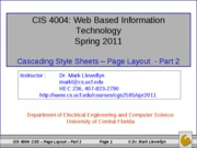 Cascading Style Sheets - Page Layout - Part 2