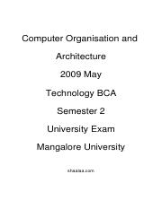 (www.entrance-exam.net)-Mangalore University BCA 2nd Sem Computer Organisation and Architecture Samp