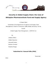 Security in Global Supply Chain the Case of PFSA doc - Security in