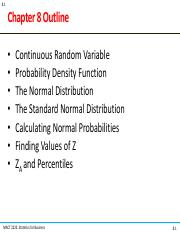 Chapter8 pdf - 8 1 Chapter 8 Outline Continuous Random