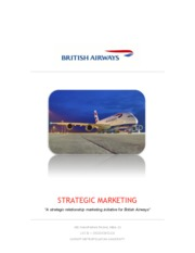 STRATEGIC MARKETING - a strategic marketing initiative for British Airways
