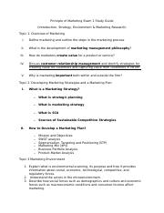 Principle of Marketing Exam 1 Study Guide-3 topics