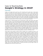 Google's Strategy in 2010