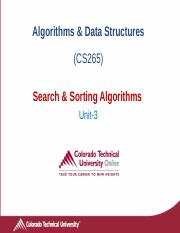 CS265 Algorithms Unit3 Introduction to Search and Sorting Algorithms