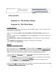 Unit 7 Outlines for Western Trad, Prog 13 and 14, version for 4 weeks