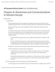 Chapter 16: Absolutism and Constitutionalism in Western Europe - AP European History Chapter Outline