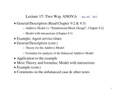 Lecture 17 Two way ANOVA 2012