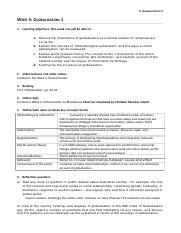 Week 5 Globalisation 1 Worksheet