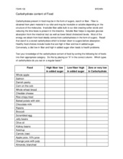 Worksheet-Carbohydrate Content of Food