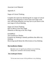 Stages of Critical Thinking-Week 1