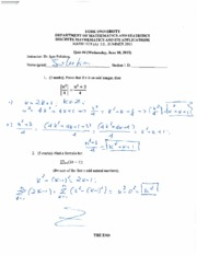MATH 1019 Quiz 4 Summer 2015