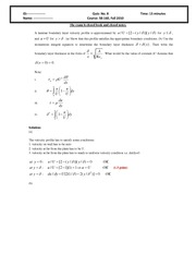 Quiz 8 2010 Solution on Intermediate Mechanics of Fluids