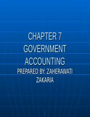 CHAPTER 7 GOVERNMENT ACCOUNTING