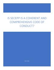 Is SECEPP is a coherent and comprehensive code of conduct