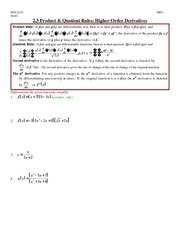 Problem Set on Product Quotient Rule