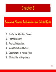 Chapter 02 Financial Markets, Institutions and Interest Rates