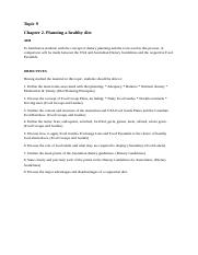 Topic 9 Objectives Planning a healthy diet (1)
