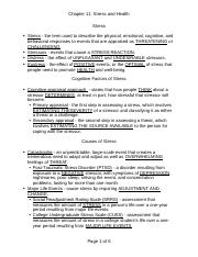 Psych 1 Chapter 11 Practice Quiz - Chapter 11 Stress and Health 1 ...