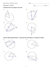 MATH 9 Tangents to Circles Worksheet Solutions - Kuta Software ...