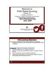 P320 Class_13 (Oct-04) - Chptr_07 - Supplier Eval and Selection (Student Ver)