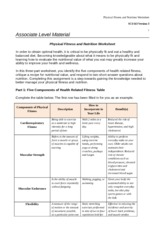 six dimesions of health worksheet sci163