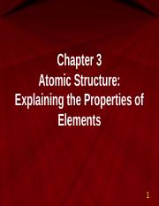 Chapter 3 Atomic Structure CHEM 111 Spring 2016 b