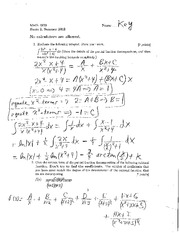 Exam B Summer 2013 Solutions on Calculus