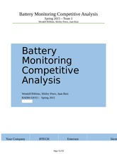 Battery Monitoring  Competitive Analysis