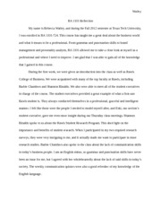 Extra Credit Reflection Paper