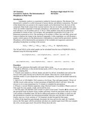 gravimetric determination of moisture and phosphorous Rdr3 cargado por andre jet  gravimetric determination of moisture and phosphorus in fertilizer sample  gravimetric determination of phosphorus in fertilizer.