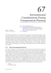 Environmental Consideration During Transportation Planning
