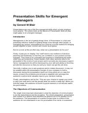 R4.1 Presentation Skills for Emergent Managers