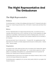 EU LAW Course 12 - The Hight Representative And The Ombudsman