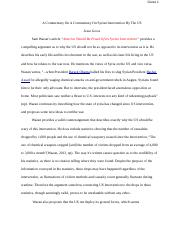 Copy of A Commentary On A Commentary On Syrian Intervention By The US.docx