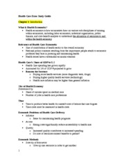 Health Care Econ Study Guide Chapter 1
