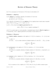 Math 511 - Measure Theory