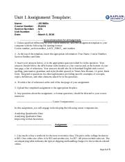sd1340 unit 6 assignment 1 Essay unit 6 assignment 1 essay unit 6 assignment 1 1591 words jan 31st, 2015 7 pages leadership by innovation lucretia m taylor mba6006 leading innovation in a.