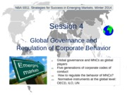 NBA 5911. Winter 2014. Session 4. Global Governance and Regulation of Corporate Behavior