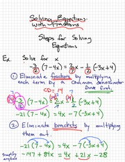Math 9 Solving Equations WIth Fraction Notes