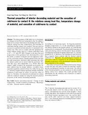 Thermal properties of interior decorating material and the sensation of