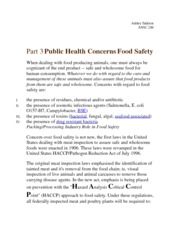 Part 3 Public Health Concerns Food Safety Notes