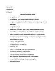MBAN 4473 Notes on The Foreign Exchange Market
