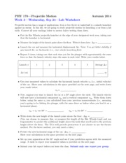 Worksheet on Projectile Motion