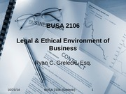 1. Intro to Law & the Legal System - BUSA 2106 Fall 2014-2