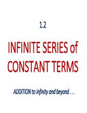 1.2 Series of Constant Terms
