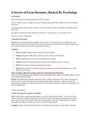 Secrets of Great Resumes